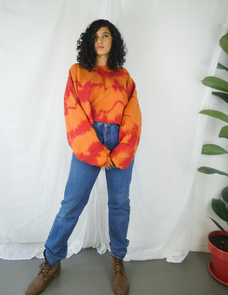 Eco-friendly Handmade Orange and Red Tie Dye Cropped Sweatshirt