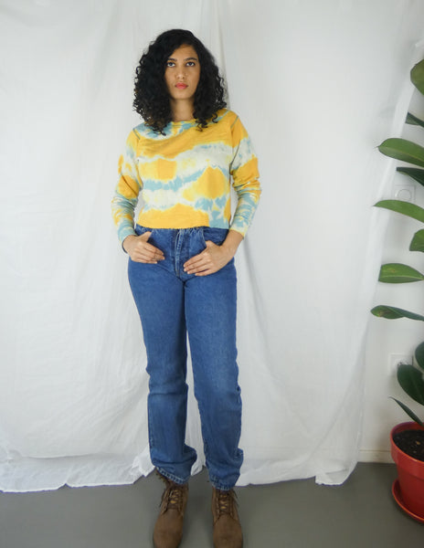Eco-friendly Handmade Yellow & Blue Tie Dye Cropped Sweatshirt