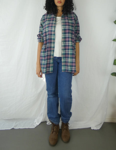 Pink and Green Checkered Flannel Shirt