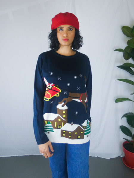 Quirky Ugly Christmas Santa & Rudolph Sweater
