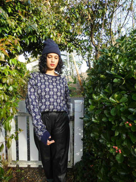Vintage Pure Wool 70s Navy Sweater