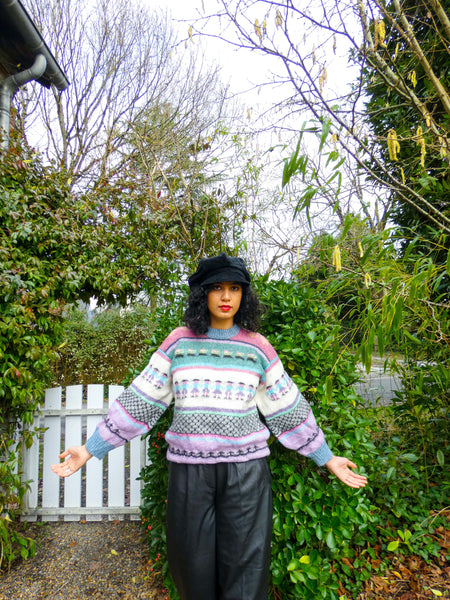 Vintage Hand-knitted Chunky Pastel Winter Sweater