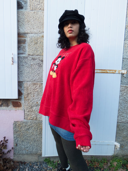 Vintage Disney Mickey Red Fleece Sweatshirt