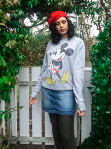 Vintage Disney Grey Mickey Sweatshirt with Union Jack