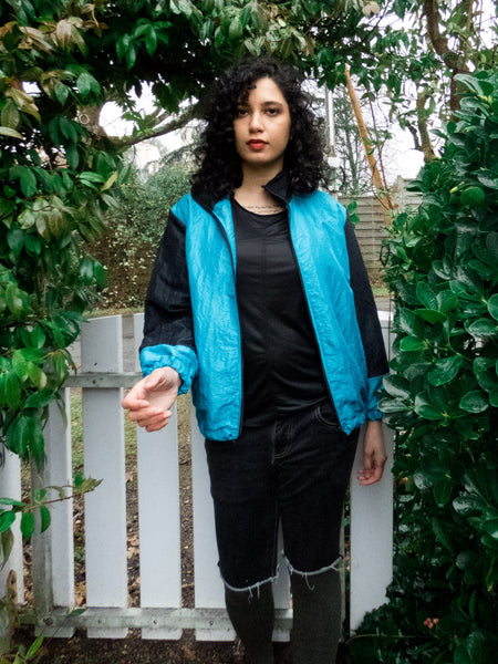 Vintage 80s-90s Blue and Black Sports Track Jacket
