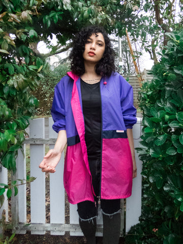 Vintage Purple and Pink Sports Windbreaker