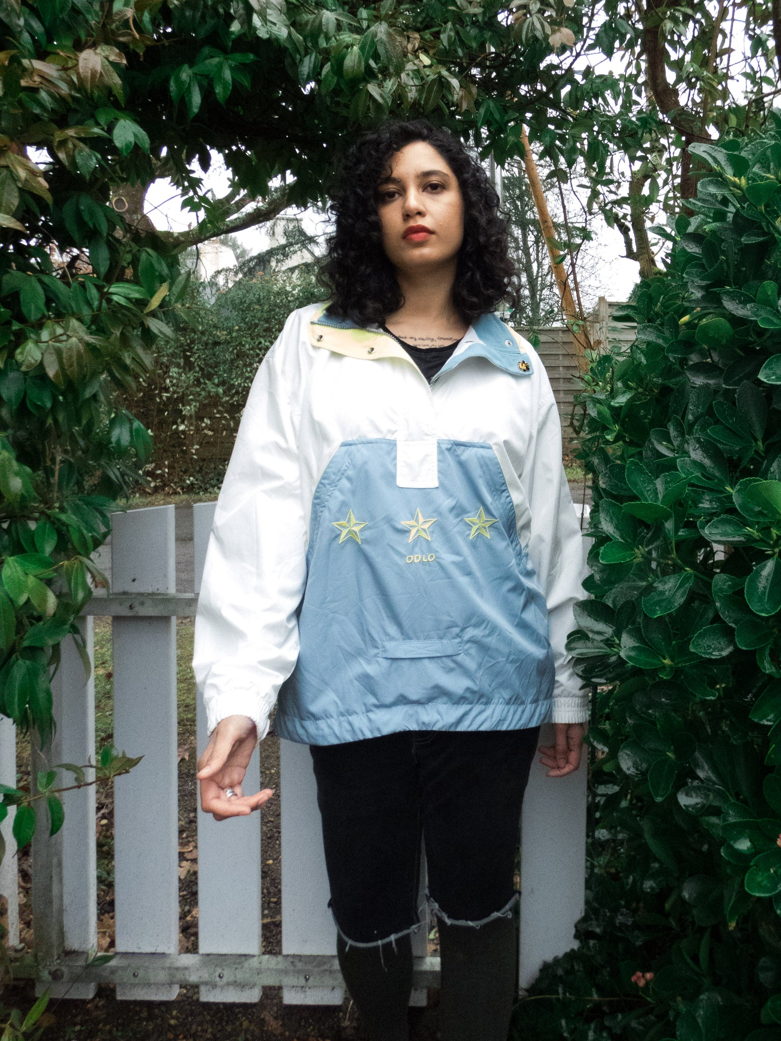 Vintage White and Grey Sports Track Jacket