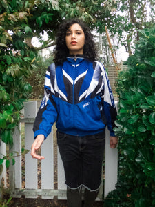 Vintage 80s-90s Dark Blue & White Sports Track Jacket