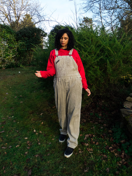 Vintage Union Bay Retro Oversized Corduroy Biege Dungaree