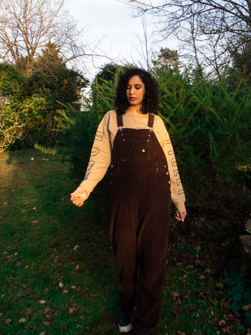 Vintage Squeeze Jeans Retro Oversized Corduroy Brown Dungaree