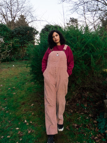 Vintage Retro Oshkosh Oversized Corduroy Rose Pink Dungaree