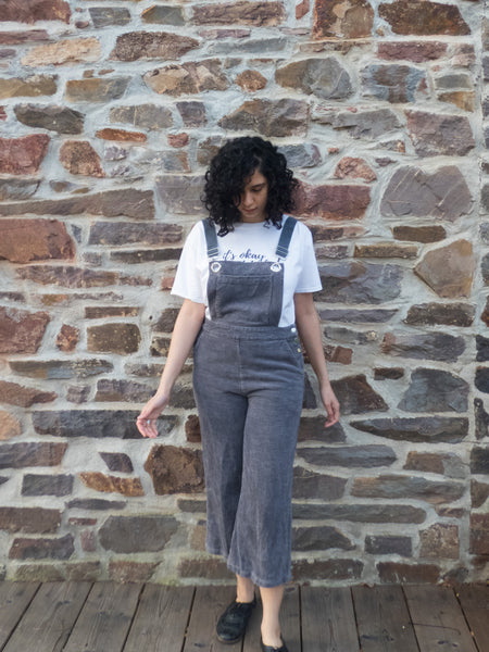 Vintage Retro Oversized Corduroy Grey Dungaree