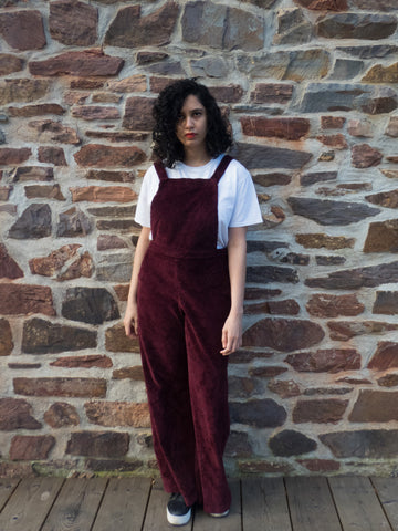 Vintage Retro Wide Legged Burgundy Dungaree