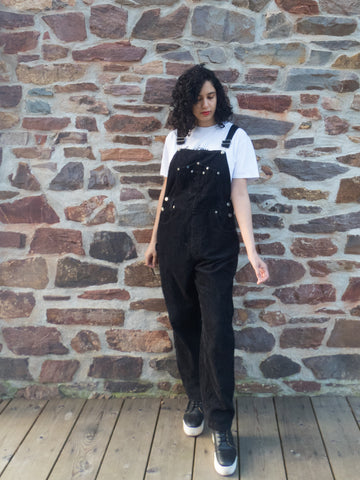 Vintage Retro Oversized Corduroy Black Dungaree