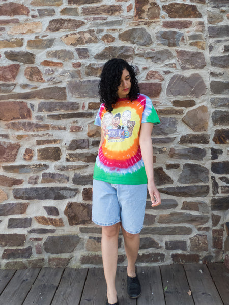 Unisex Vintage Rainbow Tie Dye T-shirt with Quirky Cartoon Print