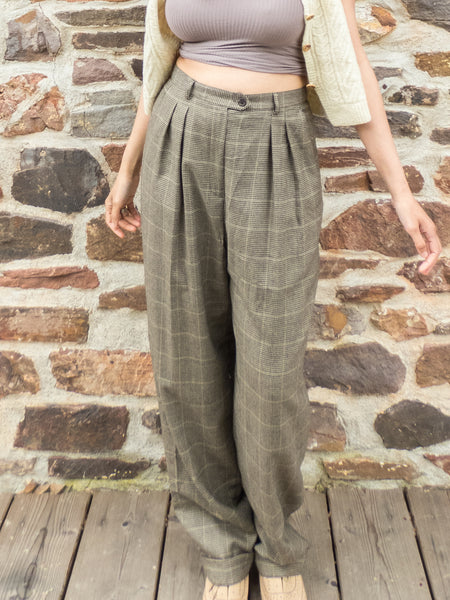 Preppy American Vintage Ralph Lauren Brown Checkered Pleated Trousers (Size 12)