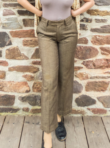Vintage Gap Preppy Brown Pleated Trousers (W29 - 30 inches)
