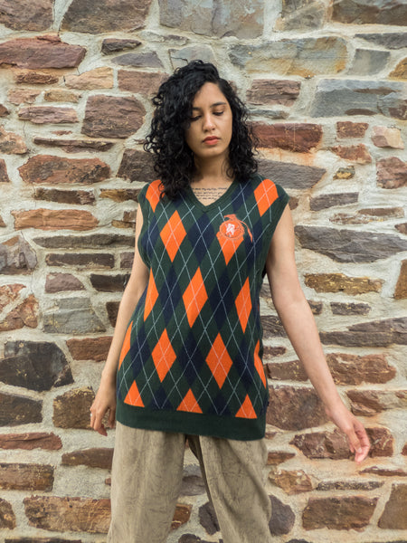 Vintage Sleeveless Preppy Green & Orange Argyle Top in Cotton (Large)