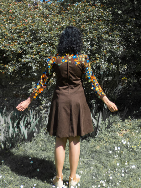 Vintage 60s-70s Psychedelic Florals Brown Skater Dress Medium - Large