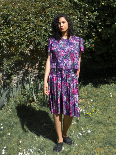Vintage 80s Purple Floral Pleated Dress - Large to Extra Large