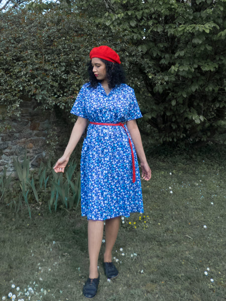 Vintage 80s Plus Size Blue Floral Dress With Pockets - Large to Extra Large