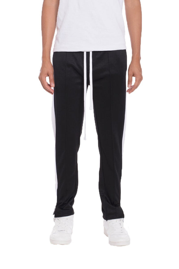 TRICOT STRIPED TRACK PANTS- BLACK
