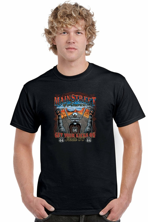 Men's T Shirt Main Street Of America: Get Your Kicks On Short Sleeve