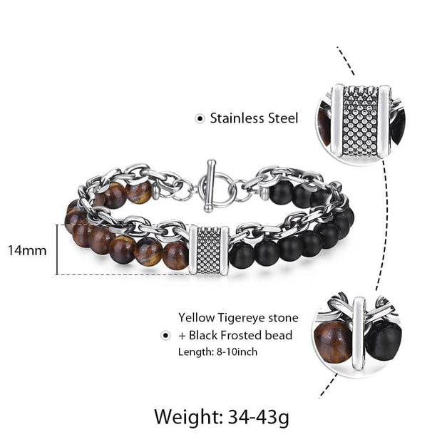 Natural Tiger Eye Stone Bracelet Men Stainless Steel Beaded Bracelets