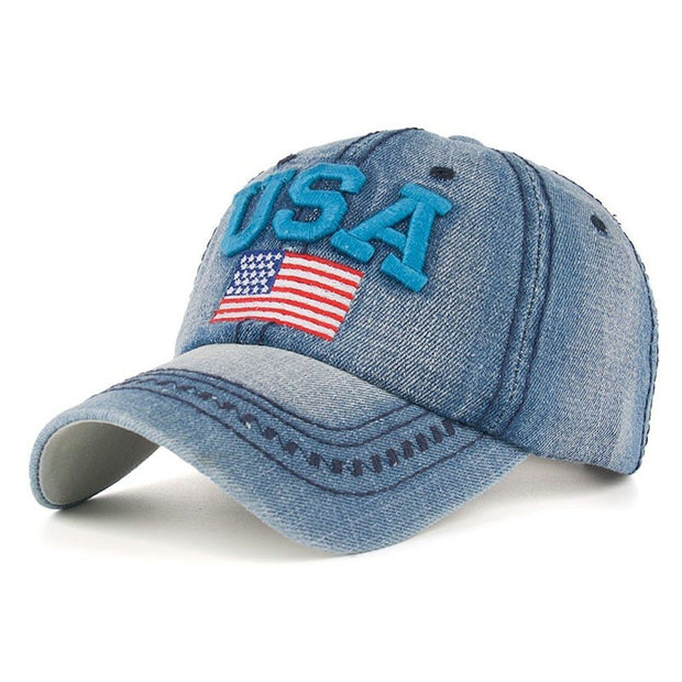 Caps For Men Women Retro USA Flag Embroidery Denim Baseball Cap Summer