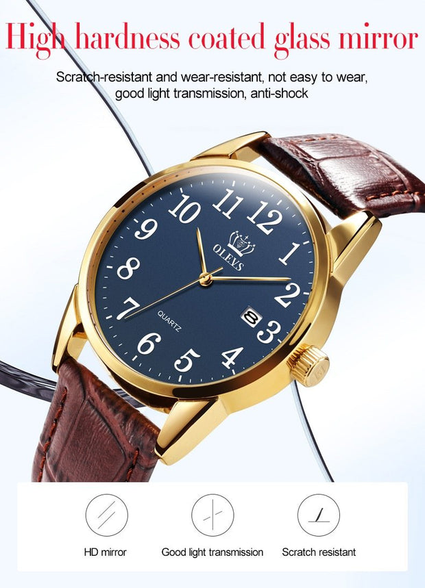 Men Watch Easy Reader Date Brown Leather Strap Waterproof Casual