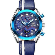 Men Watch Sport luminous chronograph leather Waterproof Top Brand