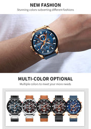 Luxury Men Watch Leather Quartz Clock Fashion Chronograph Wristwatch