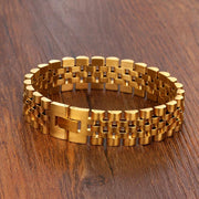 Luxury Gold Color Stainless Steel Bracelet 200mm Wristband Men Jewelry