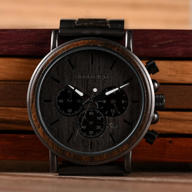 Luxury Wood Stainless Steel Men Watch Stylish Wooden Timepieces