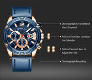 Top Brand Men Watches Casual Leather Watches for Mens Luxury sport