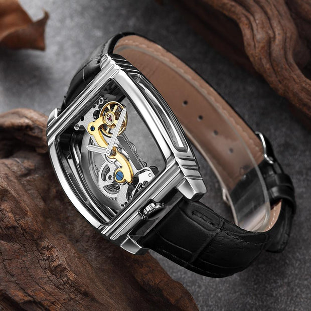 Transparent Mens Watches Mechanical Automatic Wristwatch Leather Strap