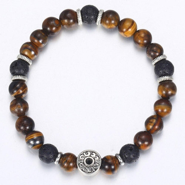 Tiger Eye Stone Beads Bracelet For Men Stainless Steel Charm Bracelets