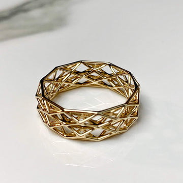 Geometric Lattice, Solid 14k Gold Ring - studiovestri