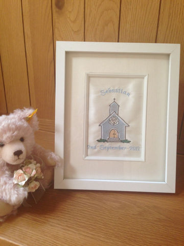 Christening gift embroidered picture of a church.