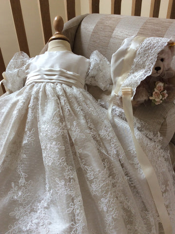 The Balmoral corded lace heirloom Christening gown