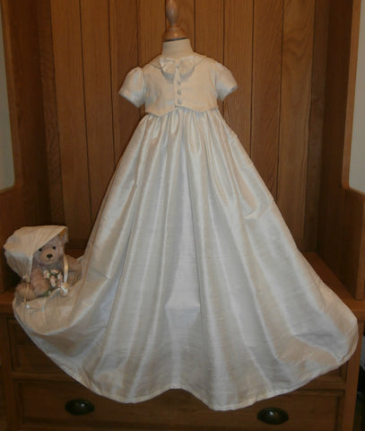 The Charles silk christening gown and boys bonnet