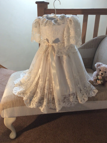 The Windsor lace short length christening gown/Bridesmaid dress