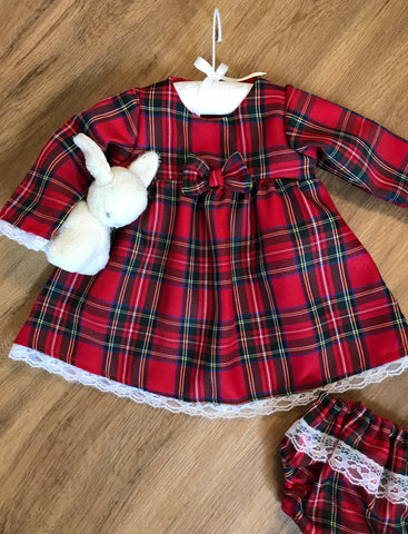 Girls dress red Tartan and lace and matching knickers