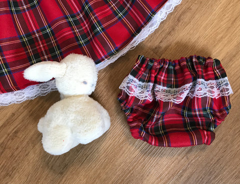 Nappy Cover - Red tartan and lace