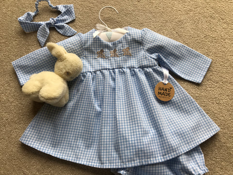 Blue Gingham Girls Dress, knickers and hair band - Personalised
