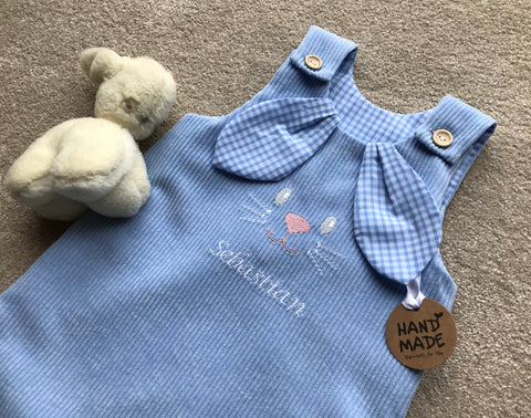 Boys or Girls Easter Bunny romper suit / Dungarees - Made in the UK