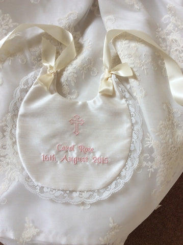 Windsor Embroidered Bib with lace trim
