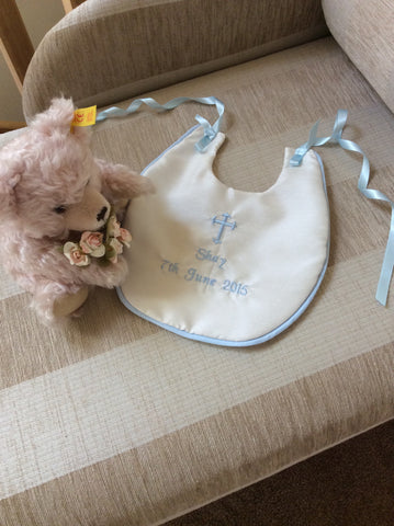 Christening bib, embroidered and personalised.