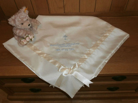 Christening shawl with ribbon trim and personalised with embroidery