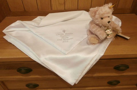 Christening shawl with embroidery